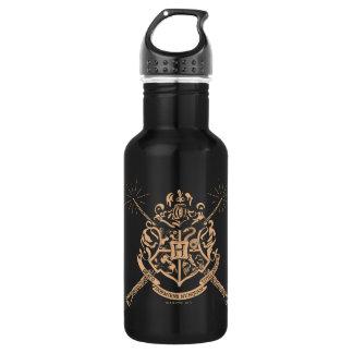 Harry Potter | Hogwarts gekreuztes Wands-Wappen Edelstahlflasche