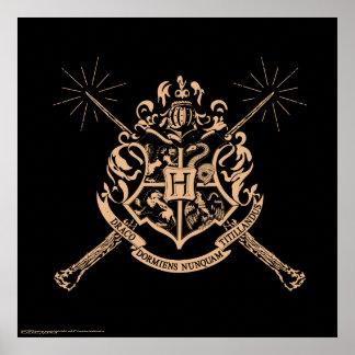 Harry Potter | Hogwarts gekreuztes Wands-Wappen Poster