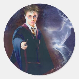 Harry Potters Hirsch Patronus Runder Aufkleber