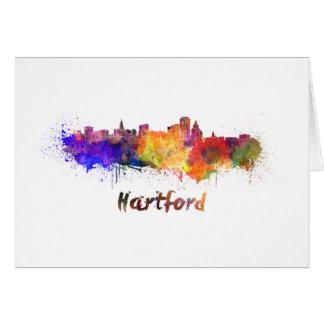 Hartford skyline im Watercolor Karte