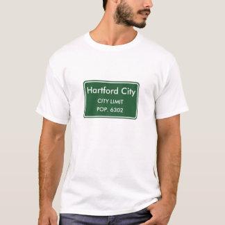Hartford-Stadt-Indiana-Stadt-Grenze-Zeichen T-Shirt