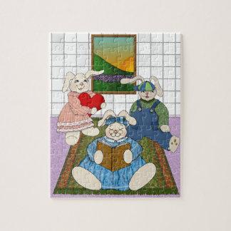 Häschen-Familie im Spielzimmer der Kinder Puzzle