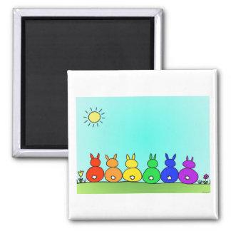 Häschen-Familien-Magnet Quadratischer Magnet