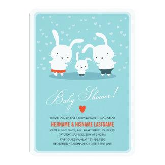 Häschen-Familien-Paar-Babyparty laden ringsum Blau 12,7 X 17,8 Cm Einladungskarte