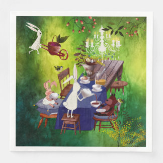 Häschen-Frühlings-Party in Wald-Tier Illustration Serviette