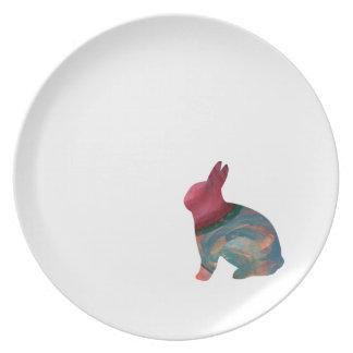 Häschen-Hopfenmelamin-großer Teller durch Janz