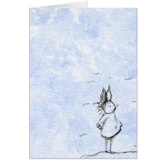 Häschen im Wind Grußkarte