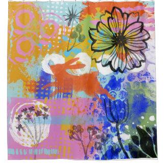 Häschen-Kaninchen-Blumen-Shabby Chic malend Duschvorhang