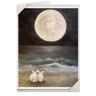 Häschen-Kaninchen-Karte - i-Liebe Sie zum Mond… Karte