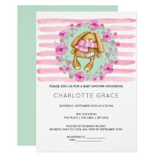 Häschen-Kaninchen und rosa Blumen-Baby-Dusche 12,7 X 17,8 Cm Einladungskarte