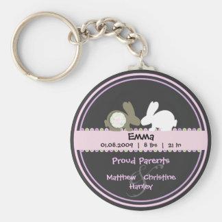 Häschen-Liebe-Geburts-Mitteilungs-Schlüsselkette Standard Runder Schlüsselanhänger