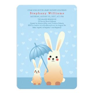 Häschen-Mama mit Babyparty-Einladungs-Blau 12,7 X 17,8 Cm Einladungskarte