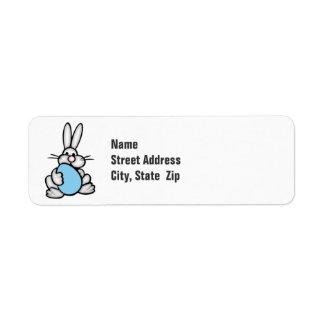 Häschen mit Baby-Blau-Ei Rückversand-Adressaufkleber