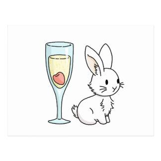Häschen mit Champagne Postkarte