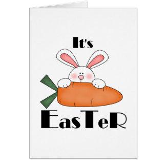 Häschen mit Karotten-Osternt-shirts und Karte