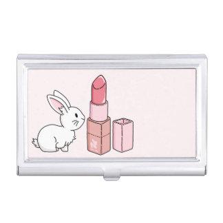 Häschen mit rosa Lippenstift Visitenkarten Dose