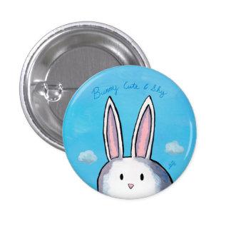 Häschen-niedlicher u. schüchterner Knopf - Blau Runder Button 3,2 Cm