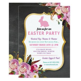 Häschen-Ostern-Party-Ei-Jagd-Einladung mit Blumen Karte