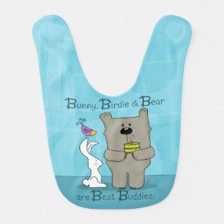 Häschen-, Piepmatz-und Bärn-beste Freunde Babylätzchen