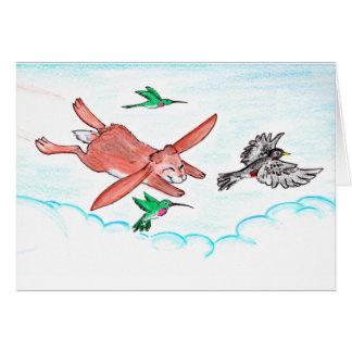 Häschen steigt mit Vögel notecard an Karte