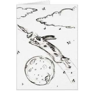 Häschen über dem Mond-Skizze notecard Karte