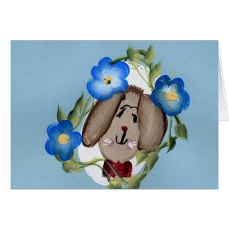 Häschen und blaue Blumen Grußkarte