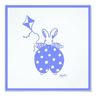 Häscheneinladung des blauen Jungen Quadratische 13,3 Cm Einladungskarte