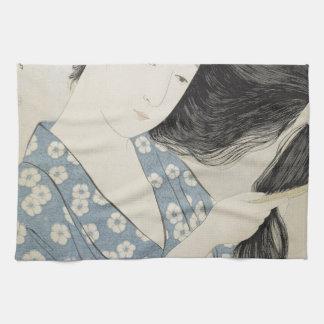 Hashiguchi Goyo - Frau im Blau, das ihr Haar kämmt Geschirrtuch