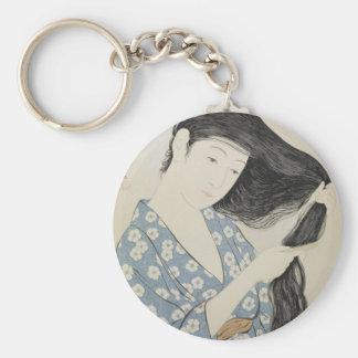 Hashiguchi Goyo - Frau im Blau, das ihr Haar kämmt Schlüsselanhänger