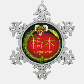 Hashimoto-Monogramm-Drache Schneeflocken Zinn-Ornament