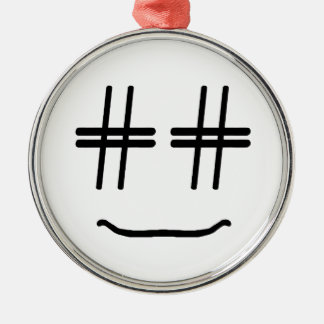 # Hashtag Smiley-Sozialmedienblogger-Spaß Silbernes Ornament