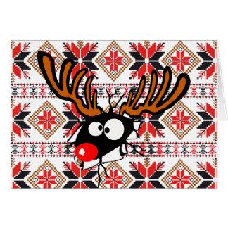 Hässliche Chrstmas Strickjacke-Karte - Rudolph-Ren Karte