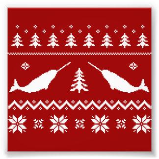 Hässliche Narwhal Weihnachtsstrickjacke Fotodrucke