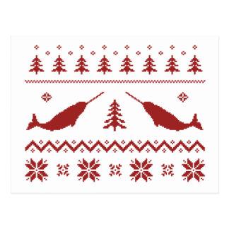 Hässliche Narwhal Weihnachtsstrickjacke Postkarte