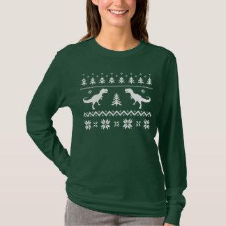 Hässliche T-Rex Dinosaurier-Weihnachtsstrickjacke T-Shirt