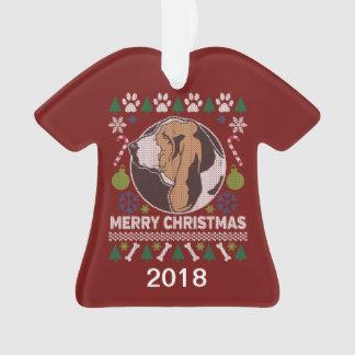 Hässliche Weihnachtsstrickjacke Basset Hounds Ornament