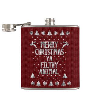 Hässliche Weihnachtsstrickjacke Flachmann