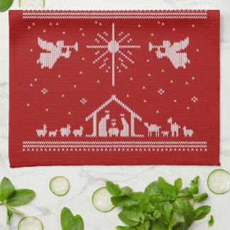 Hässliche Weihnachtsstrickjacke-Geburt Handtuch