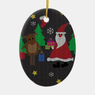 Hässliche Weihnachtsstrickjacke Keramik Ornament