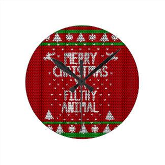 Hässliche Weihnachtsstrickjacke Runde Wanduhr