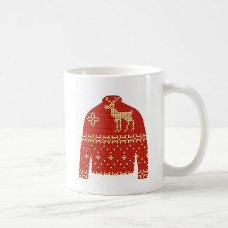 Hässliche Weihnachtsstrickjacke-Tasse - Ren Kaffeetasse