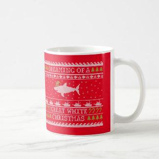 Hässlicher Strickjacke-Haifisch - großes weißes Kaffeetasse