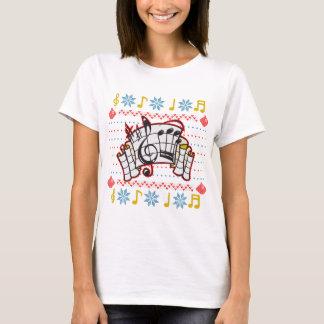 Hässlicher Weihnachtsstrickjacke-Musiknoten T-Shirt