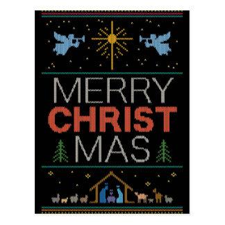 Hässlicher Weihnachtsstrickjacke-Strick-religiöses Postkarte