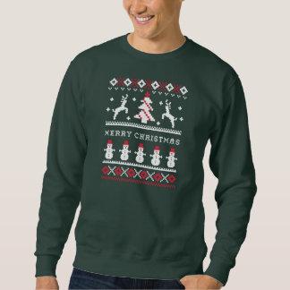 Hässliches Weihnachtsstrickjacke-Ren/Schneemann Sweatshirt