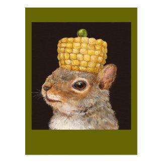 hatted Eichhörnchenpostkarte des Mais und der Postkarte
