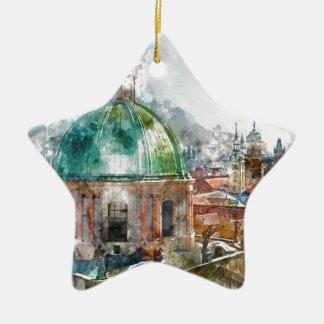 Haube in Tschechischer Republik Prags Keramik Stern-Ornament