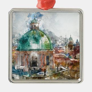 Haube in Tschechischer Republik Prags Quadratisches Silberfarbenes Ornament