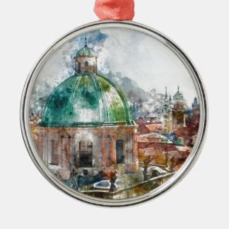 Haube in Tschechischer Republik Prags Rundes Silberfarbenes Ornament