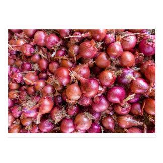 Haufen der roten Zwiebeln auf Markt Postkarte